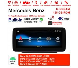 10.25 Zoll Snapdragon 662 8 Core Android 11.0 4G LTE Autoradio / Multimedia 6GB RAM 128GB ROM Für Benz GLC C-Klasse V-Klasse Built-in CarPlay