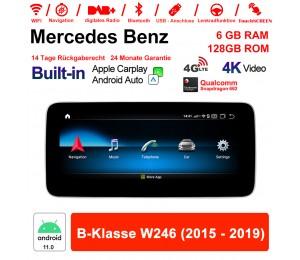 10.25 Zoll Snapdragon 662 8 Core Android 11.0 4G LTE Autoradio / Multimedia 6GB RAM 128GB ROM Für Benz B-Klasse W246 2015-2019 Built-in CarPlay