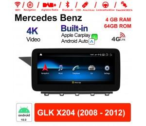 10.25 Zoll Qualcomm Snapdragon 625 (MSM8953) 8 Core Android 10.0 4G LTE Autoradio / Multimedia 4GB RAM 64GB ROM Für Benz GLK X204 2008 - 2012 Mit WiFi NAVI Bluetooth USB Built-in CarPlay Android Auto