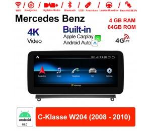 10.25 Zoll Qualcomm Snapdragon 625 (MSM8953) 8 Core Android 10.0 4G LTE Autoradio / Multimedia 4GB RAM 64GB ROM Für Benz C-Klasse W204 2008 - 2010 Mit WiFi NAVI Bluetooth USB Built-in CarPlay Android Auto