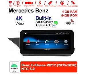 10.25 Zoll Qualcomm Snapdragon 625 (MSM8953) 8 Core Android 10.0 4G LTE Autoradio / Multimedia 4GB RAM 64GB ROM Für  Benz E-Klasse W212 2015-2016 Mit WiFi NAVI Bluetooth USB Built-in CarPlay