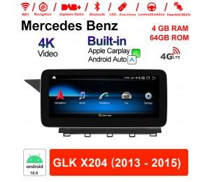 10.25 Zoll Qualcomm Snapdragon 625 (MSM8953) 8 Core Android 10.0 4G LTE Autoradio / Multimedia 4GB RAM 64GB ROM Für Benz GLK X204 2013 - 2015 Mit WiFi NAVI Bluetooth USB Built-in CarPlay Android Auto