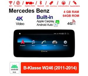 10.25 Zoll Qualcomm Snapdragon 625 (MSM8953) 8 Core Android 10.0 4G LTE Autoradio / Multimedia 4GB RAM 64GB ROM Für Benz B-Klasse W246 2011-2014 Mit WiFi NAVI Bluetooth USB Built-in CarPlay Android Auto