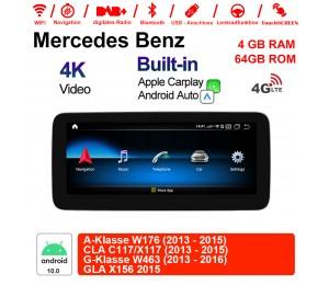10.25 Zoll Qualcomm Snapdragon 625 (MSM8953) 8 Core Android 10.0 4G LTE Autoradio / Multimedia 4GB RAM 64GB ROM Für Benz A-Klasse W176 CLA C117/X117 G-Klasse W463 GLA X156 Mit WiFi NAVI Bluetooth USB Built-in CarPlay Android Auto
