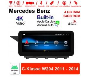10.25 Zoll Qualcomm Snapdragon 625 (MSM8953) 8 Core Android 10.0 4G LTE Autoradio / Multimedia 4GB RAM 64GB ROM Für Benz C-Klasse W204 2011 - 2014 Mit WiFi NAVI Bluetooth USB Built-in CarPlay Android Auto