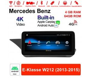 10.25 Zoll Qualcomm Snapdragon 625 (MSM8953) 8 Core Android 10.0 4G LTE Autoradio / Multimedia 4GB RAM 64GB ROM Für Benz E-Klasse W212 2013-2015 Mit WiFi NAVI Bluetooth USB Built-in CarPlay Android Auto
