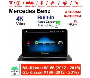 9 Zoll Qualcomm Snapdragon 625 (MSM8953) 8 Core Android 10.0 4G LTE Autoradio / Multimedia 4GB RAM 64GB ROM Für Benz ML-Klasse W166 GL-Klasse X166 Mit WiFi NAVI Bluetooth USB Built-in CarPlay Android Auto