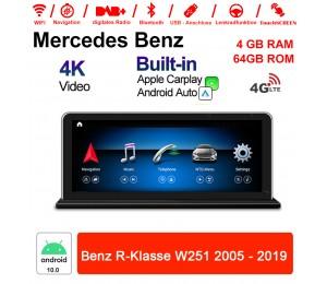 8.8 Zoll Snapdragon 625 8 Core Android 10.0 Autoradio / Multimedia 4GB RAM 64GB ROM Für Benz R-Klasse W251 2005-2017 Built-in CarPlay