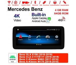 10.25 Zoll Qualcomm Snapdragon 625 (MSM8953) 8 Core Android 10.0 4G LTE Autoradio / Multimedia 4GB RAM 64GB ROM Für  Benz GLAX156 CLA C117/X117 C-Klasse W463 A-Klasse W176 NTG5.0 Mit WiFi NAVI Bluetooth USB Built-in CarPlay