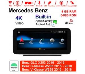 10.25 Zoll Qualcomm Snapdragon 625 (MSM8953) 8 Core Android 10.0 4G LTE Autoradio / Multimedia 4GB RAM 64GB ROM Für Mercedes Benz GLC X253 C-Klasse W205 V-Klasse W639 NTG5.0 Mit WiFi NAVI Bluetooth USB Built-in CarPlay