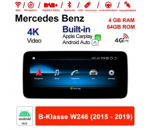 10.25 Zoll Qualcomm Snapdragon 625 (MSM8953) 8 Core Android 10.0 4G LTE Autoradio / Multimedia 4GB RAM 64GB ROM Für Benz B-Klasse W246 2015-2019 Mit WiFi NAVI Bluetooth USB Built-in CarPlay Android Auto