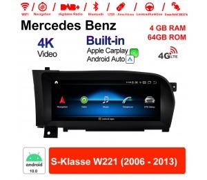 10.25 Zoll Qualcomm Snapdragon 625 (MSM8953) 8 Core Android 10.0 4G LTE Autoradio / Multimedia 4GB RAM 64GB ROM Für Benz S-Klasse W221 2006 - 2013 Mit WiFi NAVI Bluetooth USB Built-in CarPlay Android Auto