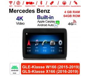 9 Zoll Snapdragon 625 8 Core Android 10.0 4G LTE Autoradio/Multimedia 4GB RAM 64GB ROM Für Benz GLE class W166/GLS class X166 Built-in CarPlay