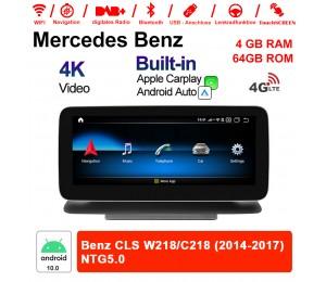 10.25 Zoll Qualcomm Snapdragon 625 (MSM8953) 8 Core Android 10.0 4G LTE Autoradio / Multimedia 4GB RAM 64GB ROM Für Benz CLS W218/C218 2014-2017 Mit WiFi NAVI Bluetooth USB Built-in CarPlay