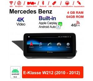 10.25 Zoll Qualcomm Snapdragon 625 (MSM8953) 8 Core Android 10.0 4G LTE Autoradio / Multimedia 4GB RAM 64GB ROM Für Benz E-Klasse W212 2010 - 2012 Mit WiFi NAVI Bluetooth USB Built-in CarPlay Android Auto