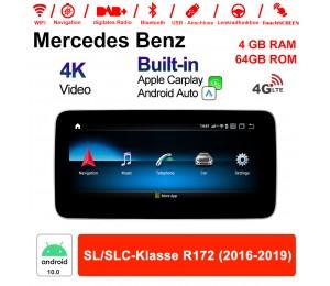 9 Zoll Qualcomm Snapdragon 625 (MSM8953) 8 Core Android 10.0 4G LTE Autoradio / Multimedia 4GB RAM 64GB ROM Für Benz SL/SLC-Klasse R172 2016 - 2019  Mit WiFi NAVI Bluetooth USB Built-in CarPlay Android Auto