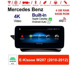 10.25 Zoll Qualcomm Snapdragon 625 (MSM8953) 8 Core Android 10.0 4G LTE Autoradio / Multimedia 4GB RAM 64GB ROM Für Benz E-Klasse W207 2010 - 2012 Mit WiFi NAVI Bluetooth USB Built-in CarPlay Android Auto