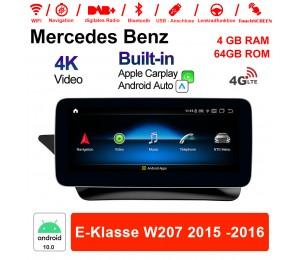 10.25 Zoll Qualcomm Snapdragon 625 (MSM8953) 8 Core Android 10.0 4G LTE Autoradio / Multimedia 4GB RAM 64GB ROM Für Benz E-Klasse W207 2015 -2016 Mit WiFi NAVI Bluetooth USB Built-in CarPlay Android Auto