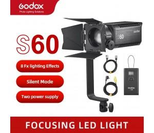 Godox S60 60W Mit Schwerpunkt LED Fotografie Kontinuierliche einstellbare Licht Scheinwerfer Mit Scheune Tür für Professionelle Fotografie