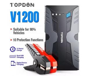TOPDON V1200 12V Starthilfe Power Bank 1200A Spitzen Auto Starthilfe Booster Batterie Power Bank 12800mAh Auto auto Ladegerät