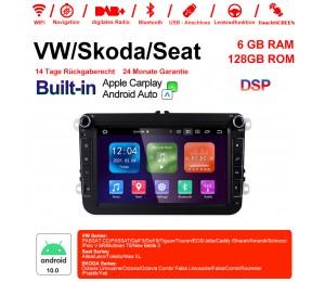 8 Zoll Android 10.0 Autoradio / Multimedia 6GB RAM 128GB ROM Für VW Passat CC Polo GOLF 5 6 Touran EOS T5 Sharan Jetta Tiguan Mit WiFi NAVI DSP