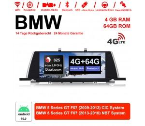 10.25 Zoll Qualcomm Snapdragon 625 (MSM8953) 8 Core A53 2.0 GHZ Android 10.0 4G LTE Autoradio / Multimedia 4GB RAM 64GB ROM Für BMW 5 Serie GT F07 Mit WiFi NAVI Bluetooth USB