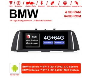 10.25 Zoll Qualcomm Snapdragon 625 (MSM8953) 8 Core A53 2.0 GHZ Android 9.0 Autoradio / Multimedia 4GB RAM 64GB ROM Für BMW 5 Serie F10 F11 (2011-2017) CIC / NBT Mit WiFi NAVI Bluetooth USB