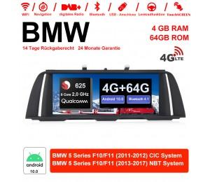10.25 Zoll Qualcomm Snapdragon 625 (MSM8953) 8 Core A53 2.0 GHZ Android 10.0 4G LTE Autoradio / Multimedia 4GB RAM 64GB ROM Für BMW 5 Serie F10 F11 (2011-2017) CIC / NBT Mit WiFi NAVI Bluetooth USB