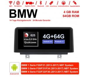 10.25 Zoll Qualcomm Snapdragon 625 (MSM8953) 8 Core A53 2.0 GHZ Android 9.0 Autoradio / Multimedia 4GB RAM 64GB ROM Für BMW 1 Serie F20/F21 3 Serie F30/F31/F34 4 Serie F32/F33/F36 NBT Mit WiFi NAVI Bluetooth USB