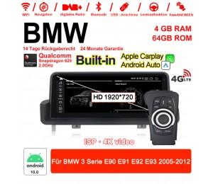 10,25 Zoll 4G LTE Android 10.0 Snapdragon 625 Autoradio / Multimedia 4GB RAM 64GB ROM Für BMW 3 Serie E90 E91 E92 E93 2005-2012 MIT Navi Bluetooth WIFI Built-in Carplay Android Auto