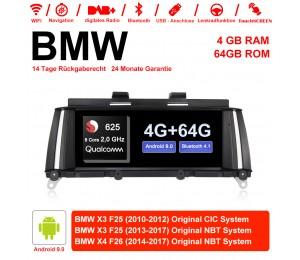 10.25 Zoll Qualcomm Snapdragon 625 (MSM8953) 8 Core A53 2.0 GHZ Android 9.0 Autoradio / Multimedia 4GB RAM 64GB ROM Für BMW X3 F25 X4 F26 NBT/CIC Mit WiFi NAVI Bluetooth USB