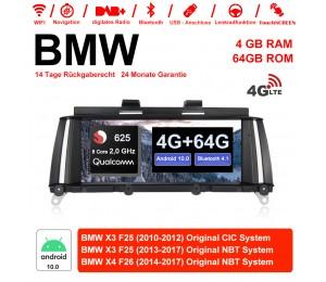 10.25 Zoll Qualcomm Snapdragon 625 (MSM8953) 8 Core A53 2.0 GHZ Android 10.0 4G LTE Autoradio / Multimedia 4GB RAM 64GB ROM Für BMW X3 F25 X4 F26 NBT/CIC Mit WiFi NAVI Bluetooth USB