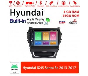 Android 10.0 Autoradio / Multimedia 4GB RAM 64GB ROM Für Hyundai IX45 Santa Fe 2013-2017 Mit WiFi NAVI Bluetooth USB