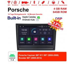 8 Zoll Android 11.0 Autoradio / Multimedia 4GB RAM 64GB ROM Für Porsche Cayman 987 911 997 Boxster 987 Mit WiFi NAVI Bluetooth USB