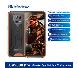 Blackview BV9800 Pro Rugged Handy 6 GB + 128 GB Wärmebildbild und Fingerabdruck-Identifikation 6,3 Zoll, Android 9.0 Pie Helio P70 Octa Core bis zu 2,3 GHz GSM & WCDMA & FDD-LTE