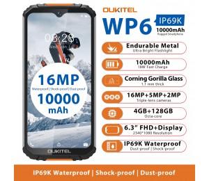 OUKITEL WP6 Robustes Smartphone 6,3 '' FHD + IP68 Wasserdichte 4 GB + 128 GB Octa Core 16MP + 5MP Dreifachkameras OTG Mobiltelefon 10000mAh
