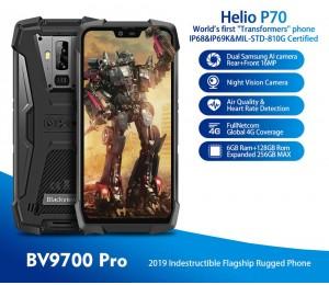 Blackview BV9700 Pro IP68 Wasserdichtes, robustes Smartphone 6 GB + 128 GB Helio P70 16 MP Nachtsichtkamera Android 9.0 Mobiltelefon