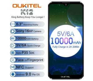 "OUKITEL K12 Android 9.0 Handy 6,3 ""19,5: 9 MTK6765 6G RAM 64G ROM NFC 10000mAh 5 V/6A Quick Charge Fingerprint Smartphone"
