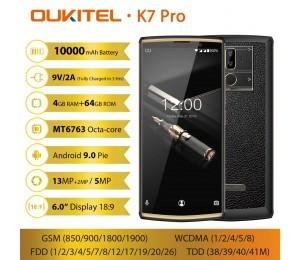 "OUKITEL K7 Pro Smartphone Android 9.0 MT6763 Octa Core 4G RAM 64G ROM 6,0 ""FHD + 18:9 10000mAh Fingerprint 9 V/2A Handy"