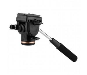 Professionelle Kamera Video Fluid Drag Pan Kopf Dämpfung Stativkopf 6 kg Tragfähigkeit mit Griff 1/4 Zoll Schnellwechselplatten Kompatibel mit Nikon Canon Sony DSLR-Kameras Camcordern