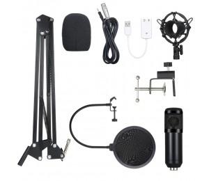 BM800 Mikrofon Kit Computer-Kondensatormikrofon mit Arm Sound Card Pop Filter Windbreak für Gaming Podcasting Live Streaming Musikaufzeichnung