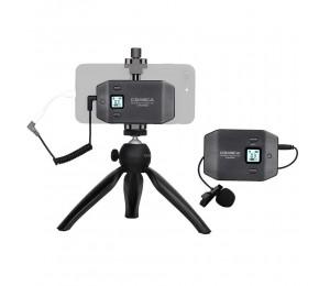 COMICA CVM-WS50 (C) 6-Kanal-UHF-Smartphone-Lavalier-Mikrofonsystem mit Telefonklemme und Mini-Stativ für Mobile Live Video Vlog Interview Conference