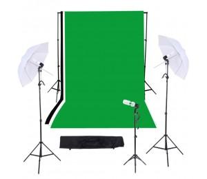 Foto / Video Studio Triple Beleuchtungs Set mit schwarzem Weiß Grün Muslins Backdrops + Kulisse Standmontage + Light Stand Background + 33in / 83cm Regenschirme + 45W E27 Studio Light Bulb + Swivel Sockel