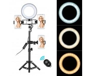 6 Zoll Desktop Mini LED Ringlicht 3000-6000K 3 Lichtmodi und dimmbare Helligkeit mit kabelloser Fernbedienung Stativstativ 3 Handyhalter Kamera-Beleuchtungskit für iPhone / Xs / XR / 8/8/7/7 Plus