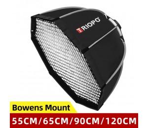 Triopo 55cm 65cm 90cm 120cm Foto Portable Bowens Mount Oktagon-Regenschirm Softbox + Wabengitter Outdoor Softbox für Blitzlicht