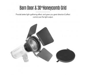 NiceFoto FD-110 Fresnel Montieren Licht Mit Schwerpunkt Adapter für Bowens Berg LED Video Lightwith Lichter Waben Grids Barn Türen