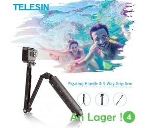TELESIN Wasserdichte Selfie Stick Schwimm Hand Grip + 3-Weg Grip Arm Einbeinstativ Pole Stativ für GoPro