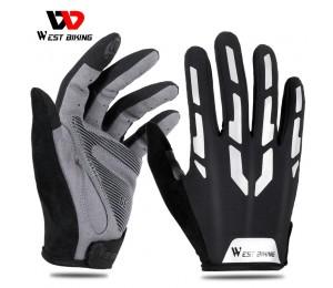 WEST BIKING Reflektierende Radfahren Handschuhe Touchscreen Atmungsaktive Sport Handschuhe Männer Frauen Fahrrad Motorrad Fitness Handschuhe