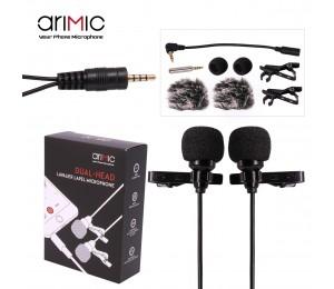 Ulanzi AriMic 1,5 m Dual-Kopf Lavalier Clip-on Mikrofon für Vortrag oder Interview für Smartphone Mobile telefon und Tabletten