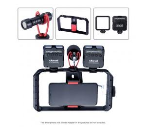 Ulanzi Vlog Living Stream Kit Rekord Mikrofon Smartphone Video Rig Hand Grip Mini LED Licht Kit Handy Filmausrüstung Kit